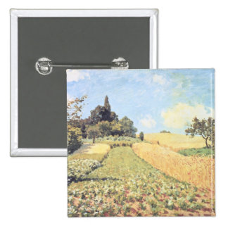 Campo de trigo (aceite en lona) chapa cuadrada 5 cm