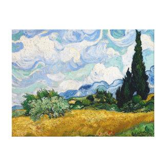 Campo de trigo con la lona de los cipreses lienzo