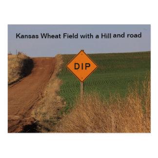 ¡Campo de trigo de Kansas con una postal de la