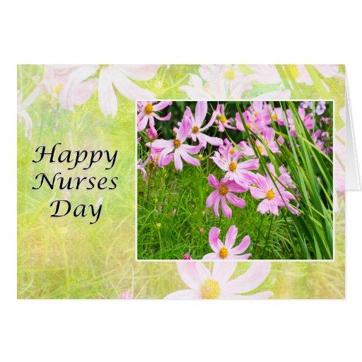 Campo feliz del día de las enfermeras de la tarjet felicitacion