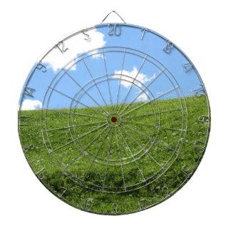 Campo herboso en la colina del balanceo contra el tablero dardos