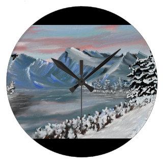 campo nevoso reloj redondo grande