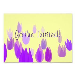 Campo púrpura del tulipán invitación 12,7 x 17,8 cm