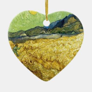Campos de trigo con el segador en la salida del adorno de cerámica