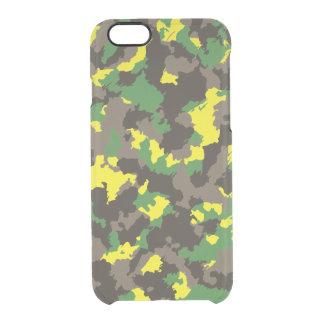 Camuflaje amarillo verde/gris/ácido funda transparente para iPhone 6/6s