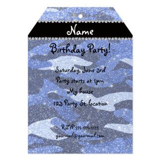 Camuflaje azul conocido personalizado del brillo invitación 12,7 x 17,8 cm