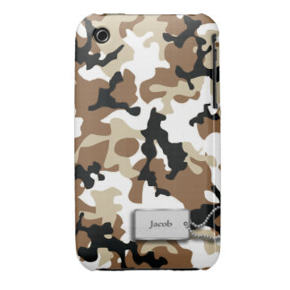 Camuflaje de los militares de Brown y del moreno iPhone 3 Fundas