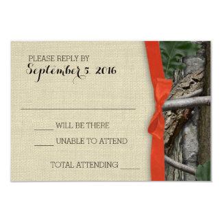 Camuflaje del árbol y respuesta anaranjada del invitación 8,9 x 12,7 cm