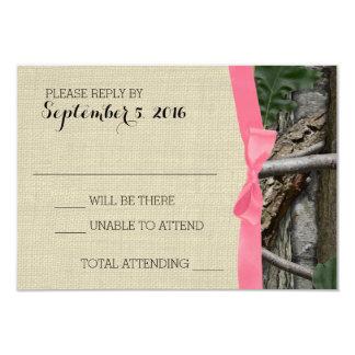Camuflaje del árbol y respuesta rosada del arco invitación 8,9 x 12,7 cm