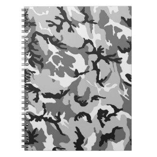 Camuflaje del negro del blanco gris cuaderno