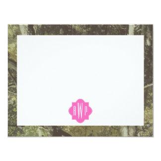 Camuflaje + Monograma rosado Invitación 10,8 X 13,9 Cm