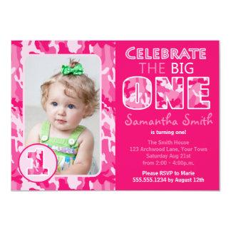 Camuflaje rosado/cumpleaños del tema de Camo Invitación 11,4 X 15,8 Cm
