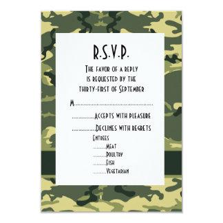 Camuflaje verde del arbolado que casa R.S.V.P Invitación 8,9 X 12,7 Cm