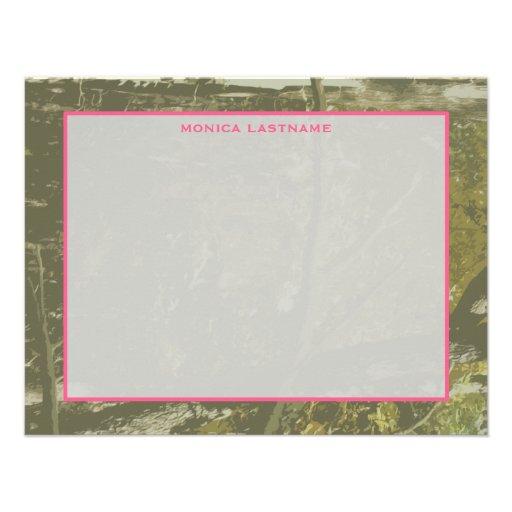 Camuflaje y Notecard plano personalizado rosa Invitaciones Personales