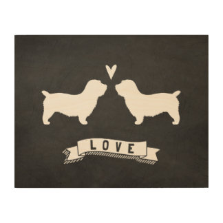 Cañada del amor de las siluetas de Imaal Terrier Impresión En Madera