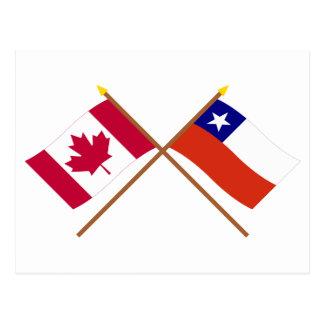 Canadá y banderas cruzadas Chile Tarjetas Postales
