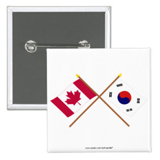 Canadá y banderas cruzadas Corea del Sur Pin