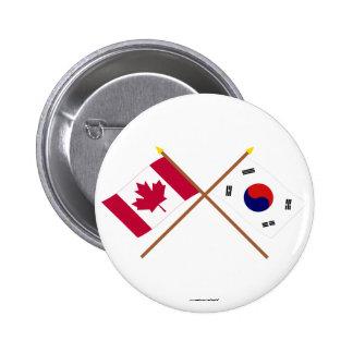 Canadá y banderas cruzadas Corea del Sur Chapa Redonda 5 Cm