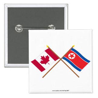 Canadá y banderas cruzadas de Corea del Norte Pin