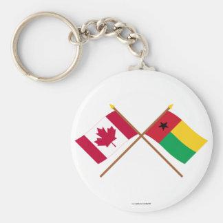 Canadá y banderas cruzadas Guinea-Bissau Llavero Personalizado