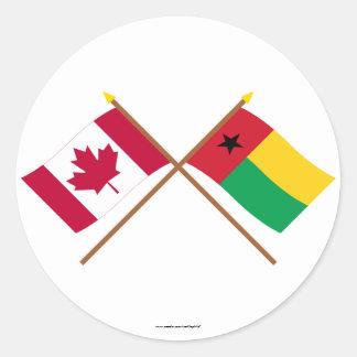 Canadá y banderas cruzadas Guinea-Bissau Pegatina