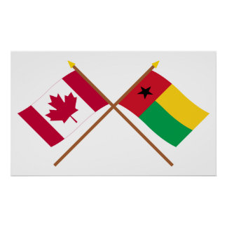 Canadá y banderas cruzadas Guinea-Bissau Impresiones