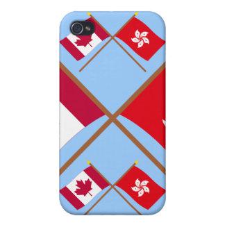 Canadá y banderas cruzadas Hong Kong iPhone 4 Coberturas