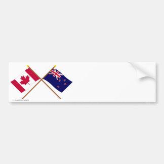 Canadá y banderas cruzadas Nueva Zelanda Pegatina Para Coche