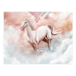 Canal corriente del caballo blanco las nubes postal