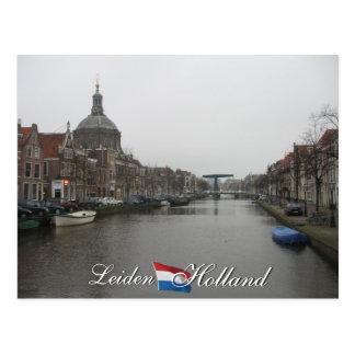 Canal de Leiden y postal de Holanda del paisaje