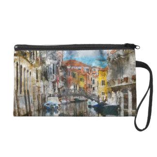 Canales de la acuarela de Venecia Italia Bolsito De Fiesta