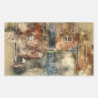 Canales de la acuarela de Venecia Italia Pegatina Rectangular