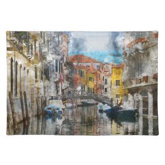 Canales de la acuarela de Venecia Italia Salvamanteles