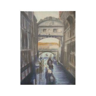 Canales de Venecia con el poster de madera de