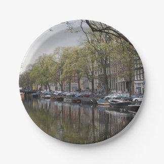 Canales en Amsterdam, Holanda Plato De Papel