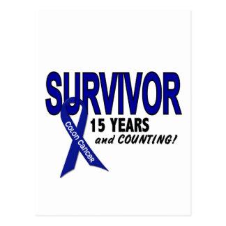 Cáncer de colon superviviente de 15 años postal