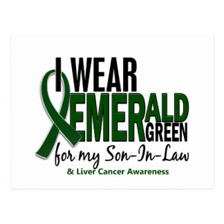 Cáncer de hígado llevo el verde esmeralda para el postal