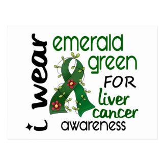 Cáncer de hígado llevo el verde esmeralda para la postal