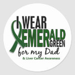 Cáncer de hígado llevo el verde esmeralda para mi etiquetas redondas
