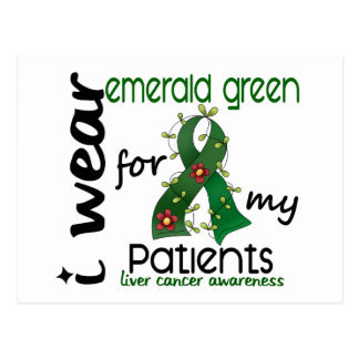 Cáncer de hígado llevo el verde esmeralda para mis postal