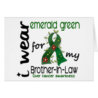 Cáncer de hígado llevo la esmeralda para mi cuñado tarjeta de felicitación