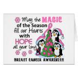 Cáncer de pecho de los pingüinos del navidad tarjeta