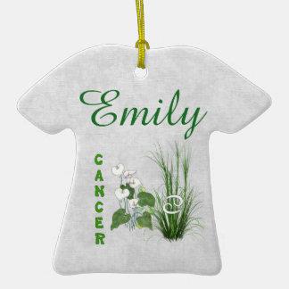 Cáncer del bambú y del lirio adorno de cerámica en forma de camiseta
