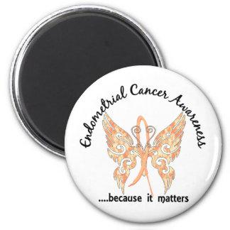 Cáncer endometrial de la mariposa 6,1 del tatuaje  imán redondo 5 cm