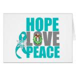 Cáncer ovárico de la paz del amor de la esperanza  felicitación