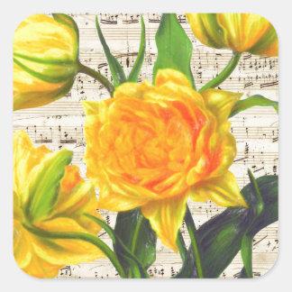 Canción amarilla de los tulipanes pegatina cuadrada
