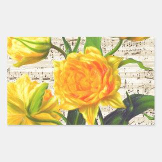Canción amarilla de los tulipanes pegatina rectangular