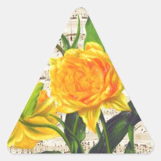 Canción amarilla de los tulipanes pegatina triangular