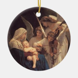 Canción del ornamento religioso del navidad de los adorno redondo de cerámica