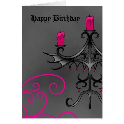Candelabros góticos de lujo en rosa en cumpleaños  felicitación